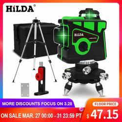HILDA Laser Livello di 12 Linee 3D Livello Self-Leveling 360 Orizzontale E Verticale Croce Super Potente Laser Verde Livello