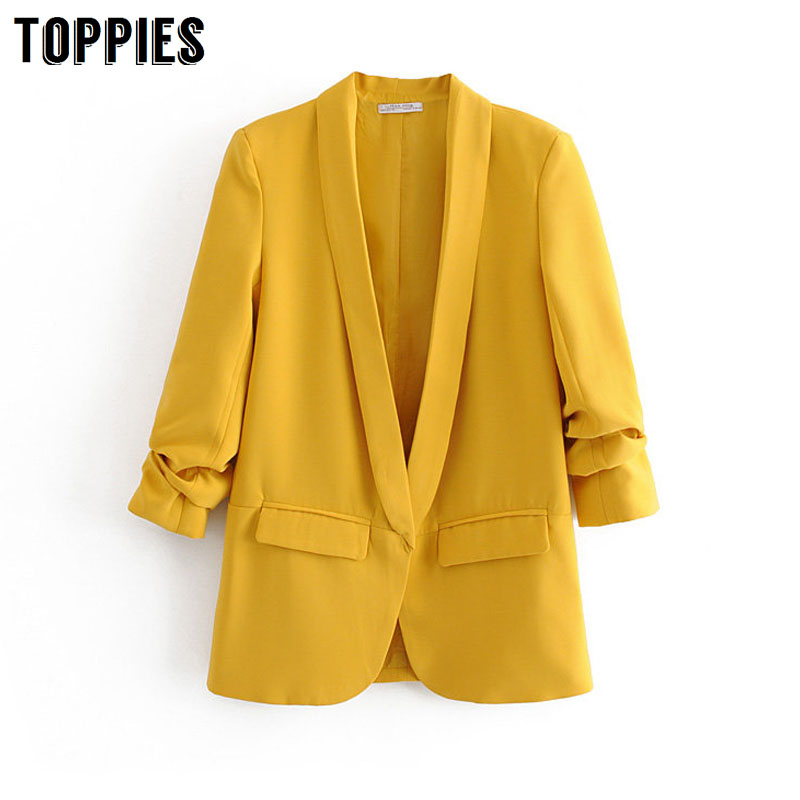 2020 Spring Thin Blazer Women Suits Candy Color Leisure Cardigan Jacket Coat Ladies Oversized Blazer