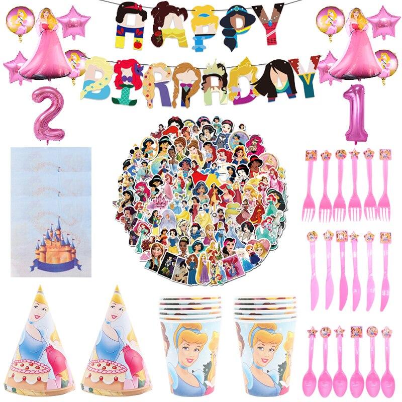 Disney принцесса тематическая вечеринка на день рождения декоративные тарелки скатерть чашки шар одноразовая посуда для девочек Baby Shower поста...