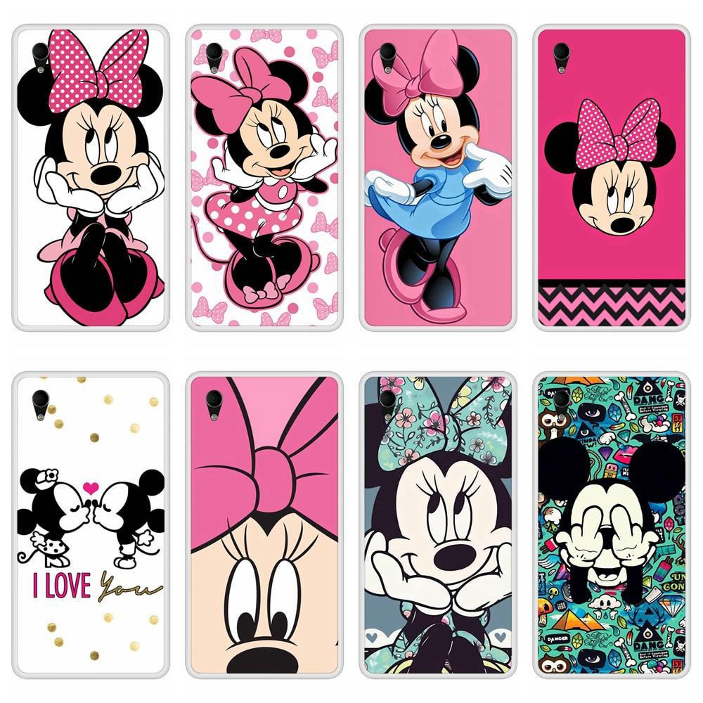 Phone Case for Sony Xperia M4 Aqua Soft Silicone TPU Mickey Minnie Pattern Print for Sony Xperia M4 Aqua Case