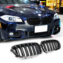 A Pair F10/F11/F18 Glossy Black Dual Slat Style Front Kidney Grill Grille For BMW F10 F18 520i 523i 525i 530i 535i 2009-2016 made in taiwan carbon fiber material m5 look front kidney grill grille for bmw 5 series f10 sedan 2010 520i 525i 530i 535i