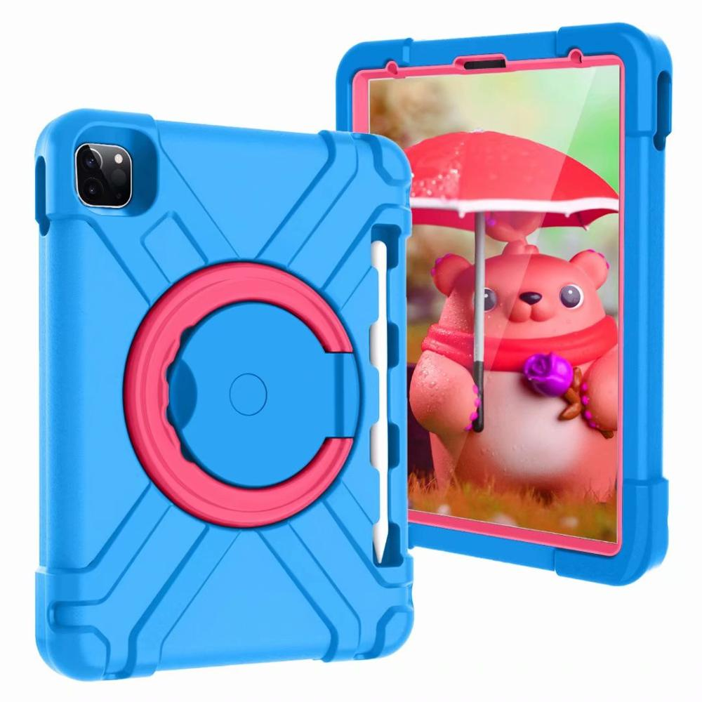 Blue-Rose White High Duty for iPad Pro 11 2018 2020 Case Kids A1980 A2230 Shockproof EVA 360 Pencil