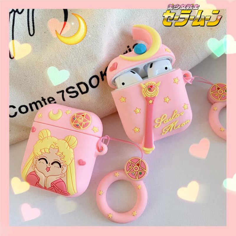 Japan Anime Sailor Moon Airpods Bag Cosplay 3D Badge Bluetooth Headset Silica Gel Protection Box Fashion Cartoon Cute Facny Gift