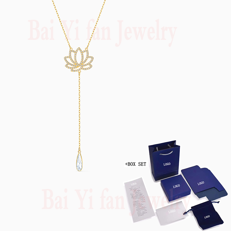 Fashion Accessories SWA New SYMBOLIC LOTUS Necklace Yellow Gold Glamorous Lotus Flower Crystal Female Romantic Jewelry Gift