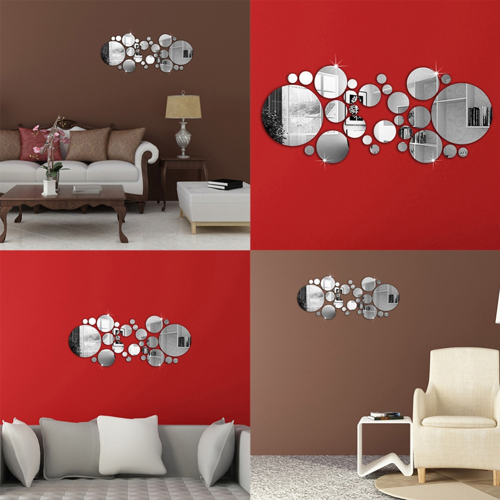 Factory Price! 30Pcs Cute Silver DIY Circle Mirror Wall Stickers Home Bedroom Office Decor Decoration image