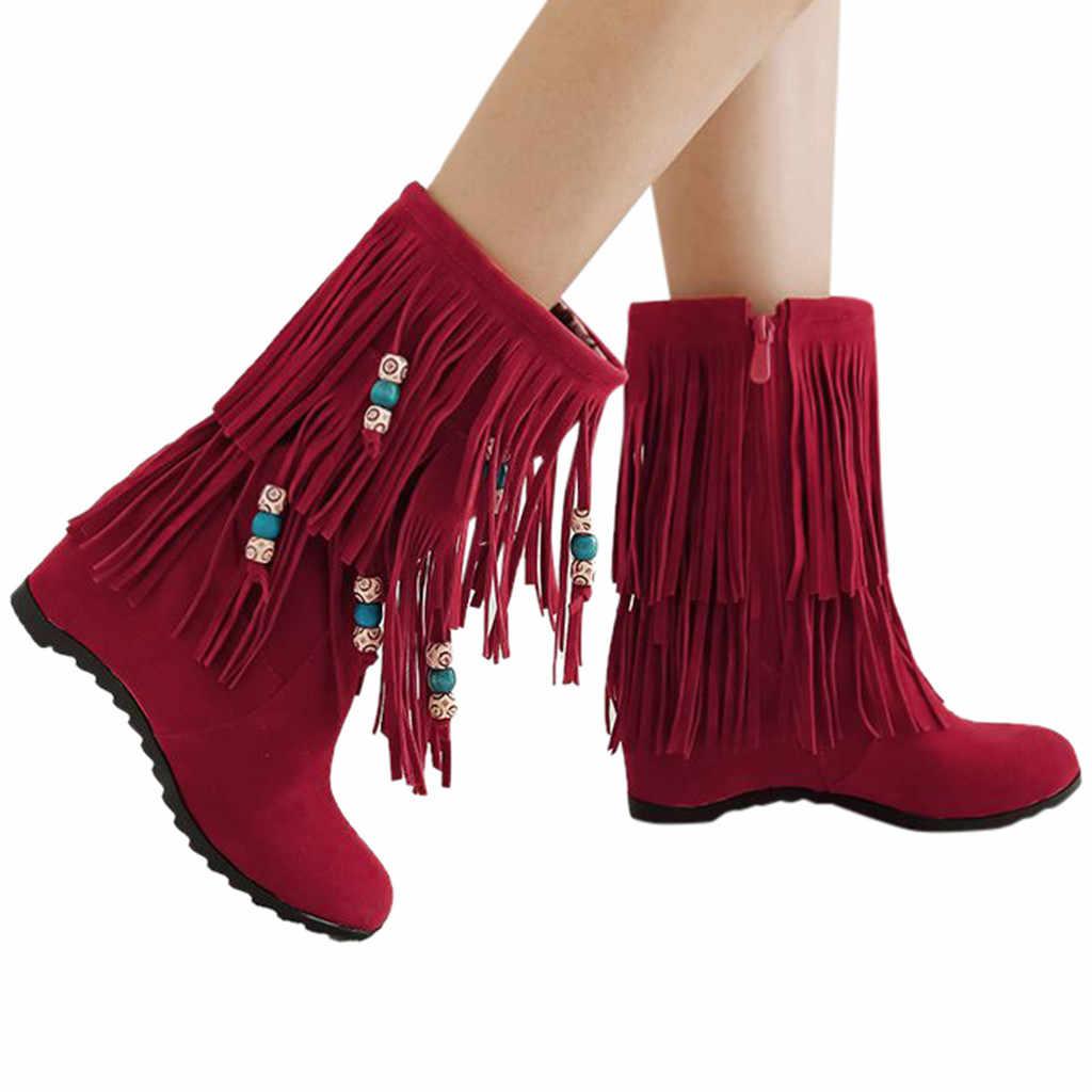 ボヘミアンプラスサイズの女性ショートブーツ自由奔放に生きるエスニック国立女性タッセルフリンジスエードミッ女性