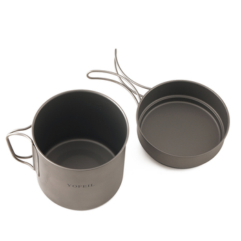 Yofeil camping cookware ultralight titanium frying pan bowl cup outdoor camping cooking set high quality hiking picnic tableware 3