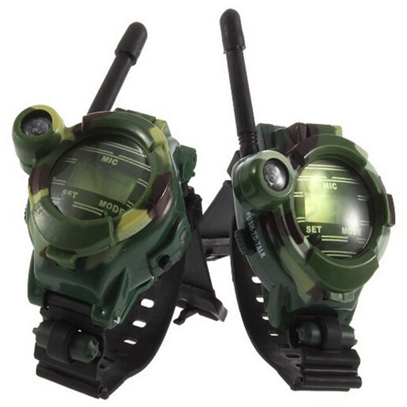 1 Pair Toy Walkie Talkie 7 In 1 Camouflage Watch Radio Outdoor Interphone Compass Night Light Electronic Toys Children Kids >6Y