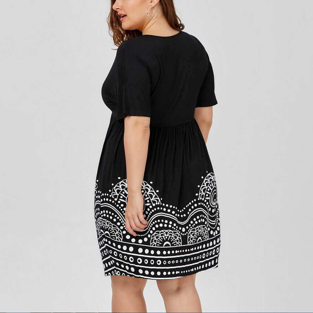אישה גדול גודל OL שמלה בתוספת גודל ערב Vestido דה Festa רטרו עמוק V-צוואר מודפס בגדים מזדמן בציר מסיבת Midi שמלות