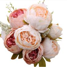 13 head / bouquet Peony Artificial Flower Red Pink Silk Fake Flowers Wedding Home Decoration