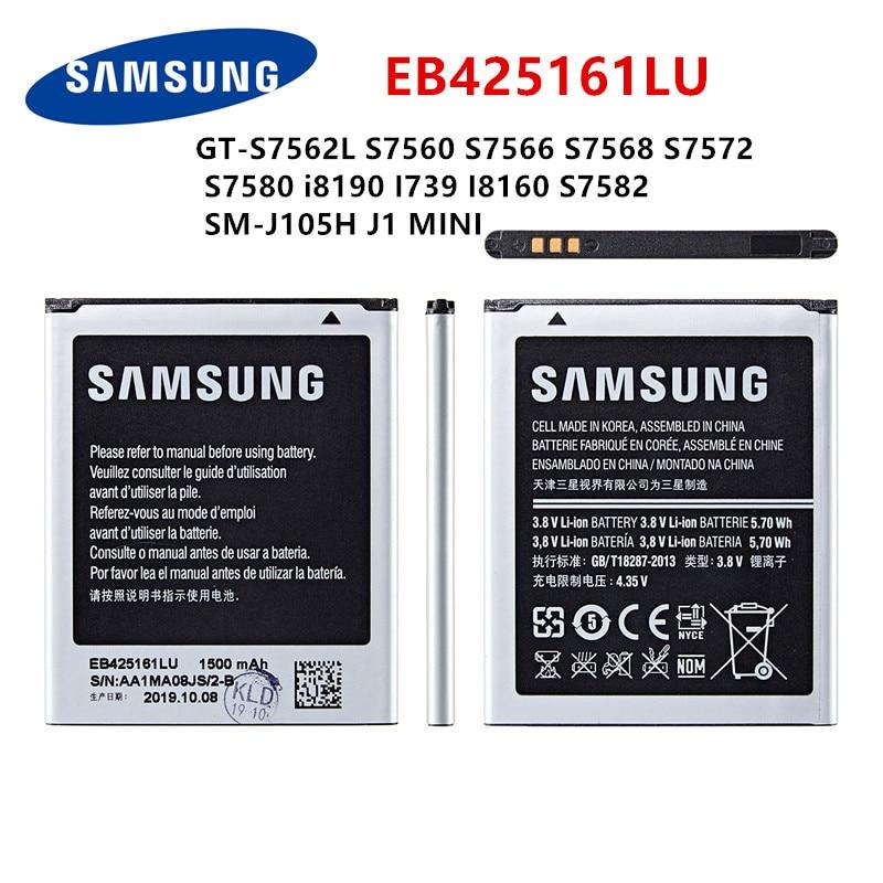 SAMSUNG Orginal EB425161LU Battery 1500mAh For Samsung GT-S7562L S7560 S7566 S7568 S7572 S7580 I8190 I739 I8160 S7582 J105H