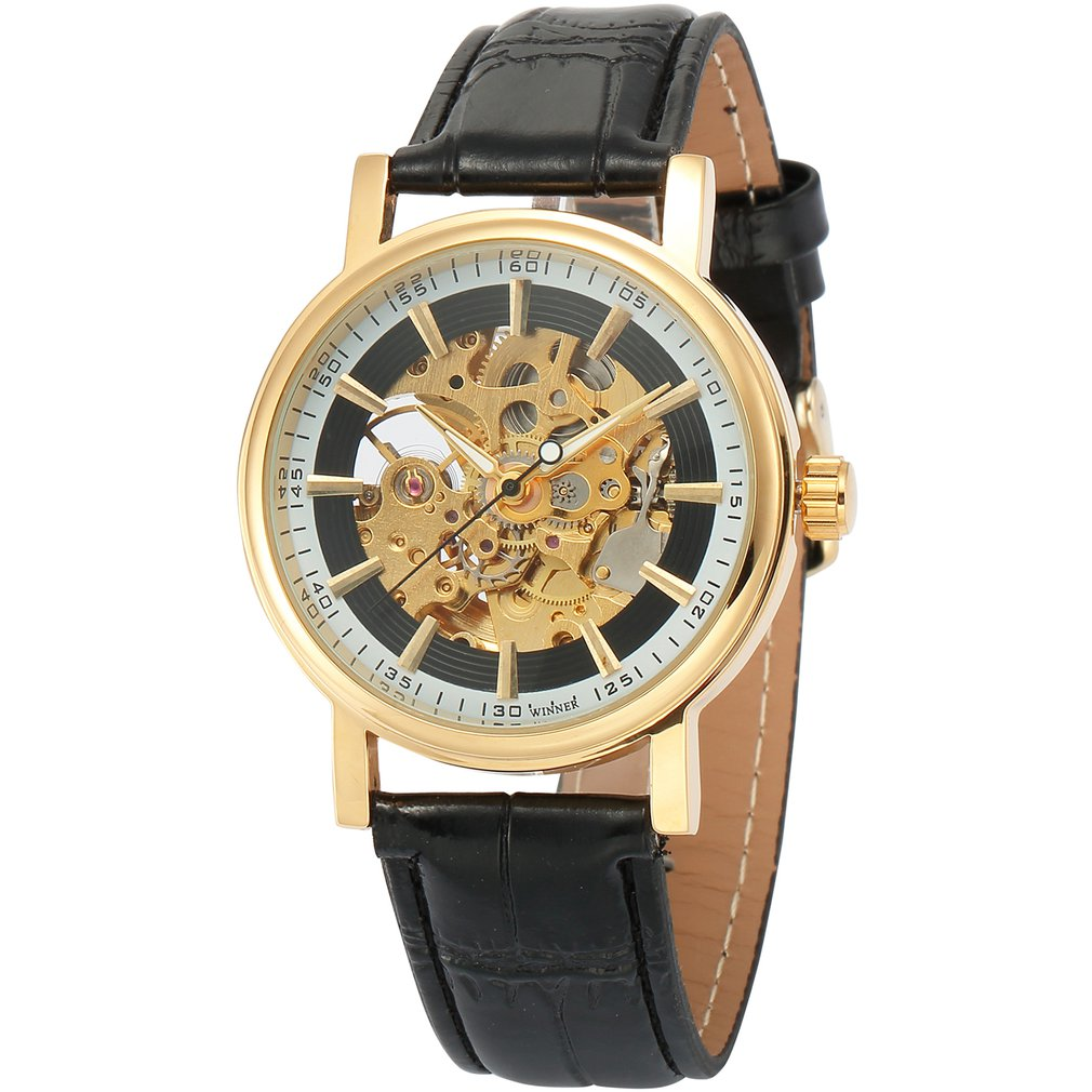 Gold Shell Hollow White Inner Shadow Black Surface Black Belt Mechanical Watch Fashion Watches Wristwatch|Women's Watches|   - title=