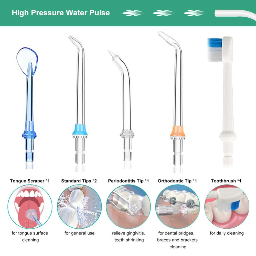 Portable Oral Irrigator 300ml Dental Water Flosser Jet 5 Modes Water Floss USB Rechargeable Irrigator Dental Teeth Cleaner + Bag