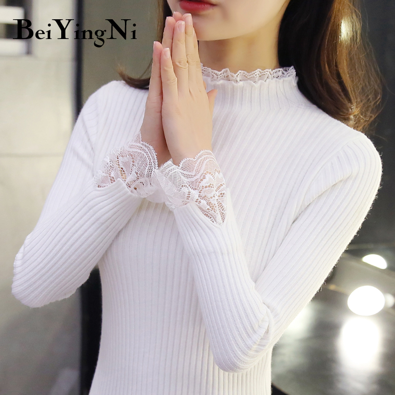 Beiyingni Women's Sweater Lace Patchwork Knitted Long Sleeve Slim Fit Female Top Autumn Casual Korean Pullover Jumper Cashmere