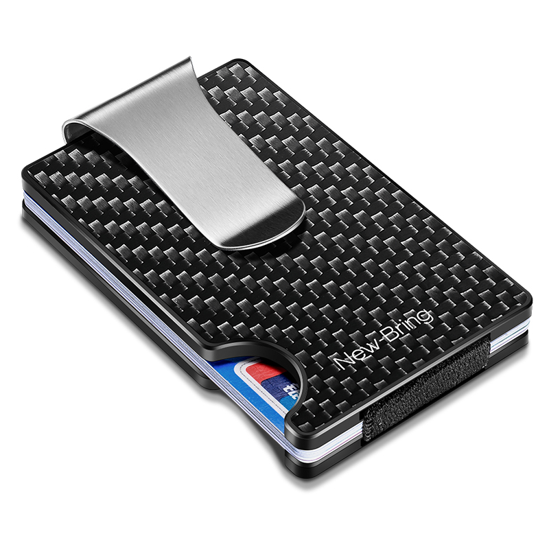 NewBring New Minimalist Carbon Fiber Wallet RFID Blocking Card Holder Credit Card Case For Men Women Male Female Money Purse