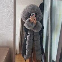 OFTBUY – Parka imperméable X long avec capuche en vraie fourrure de renard, manteau de luxe en poils naturels détachables, doudoune chaude dhiver, vêtement dextérieur chic et tendance pour femme