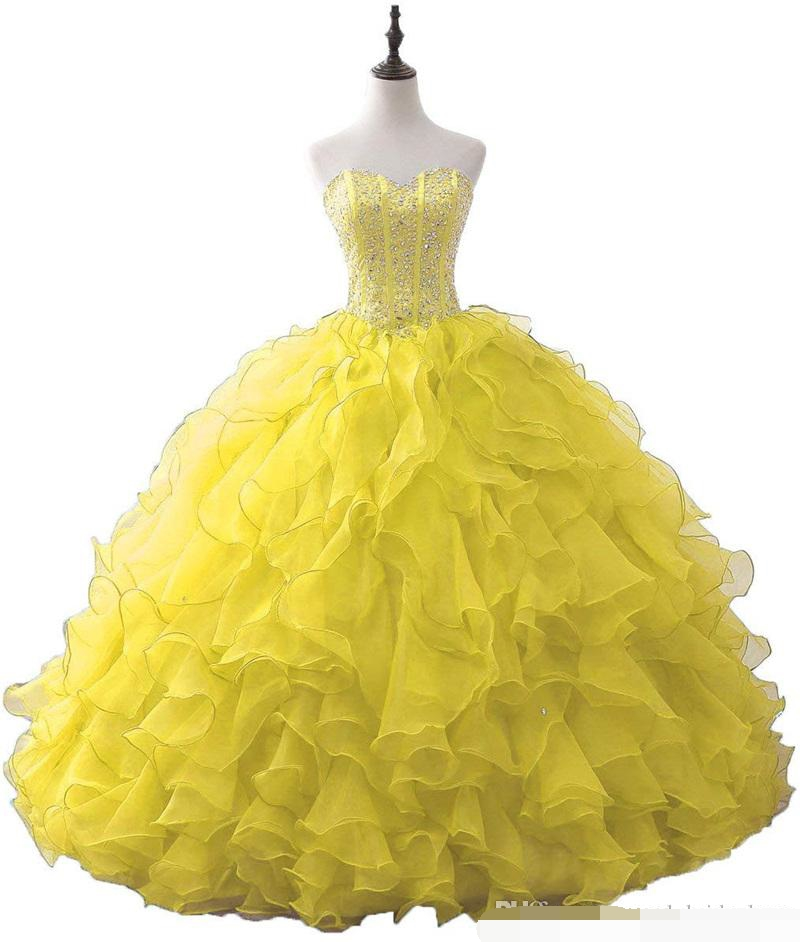 2019 Sweetheart Crystal Ball Gown Quinceanera Dresses With Sequins Organza Sweet 16 Plus Lace Up Vestido De 15 Anos prom dress