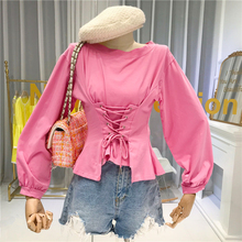 pink women blouse Cross tie O-Neck Beach Style Solid casual clothes for women moda mujer 2020 ropa long sleeve blouse