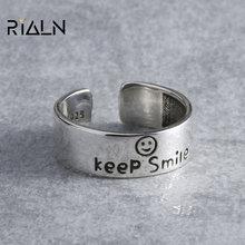 Mode rétro style bonne chance anneau smiley visage anneau femme tendance créatif quotidien tout-match bijoux 2020 nouveau