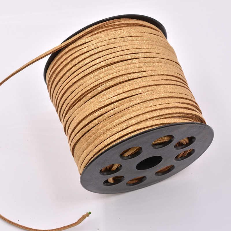 Cabo trançado de camurça para 5 metro/lote, brilhante 3mm dupla face plana camurça trançada coreano veludo couro pulseira com miçangas cabo fazer joias
