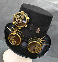 Handmade Steampunk Gears Spikes Leather Men/Women Top Hat With Googles Vintage Gothic Cosplay Party Festival Hats Accessories