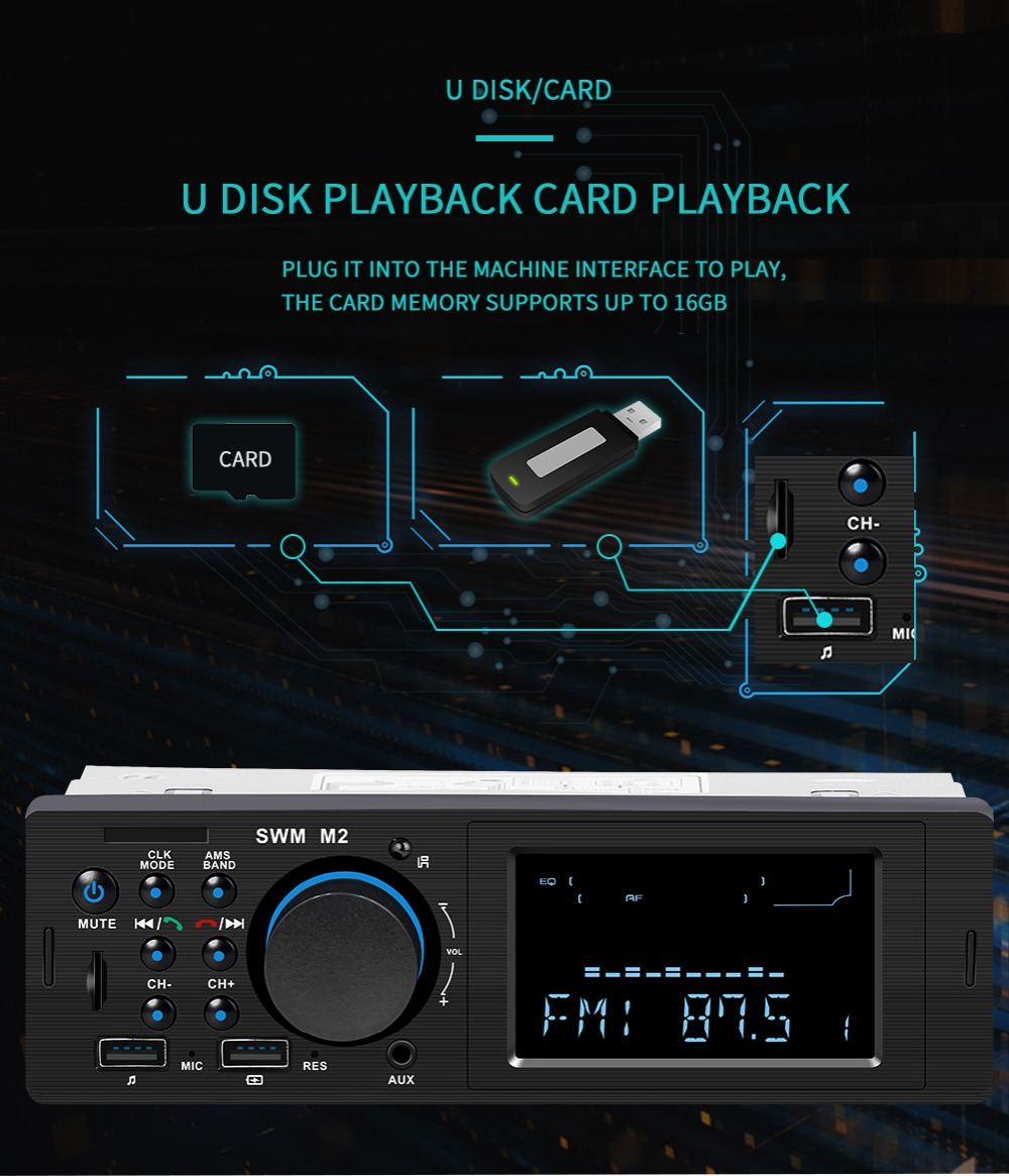 Bluetooth FM AUX Mp3 Bluetooth Car Radio Stereo Receiver 1 Din Auto Cars Audio Modulator Central Multimedia Cassette player (24)