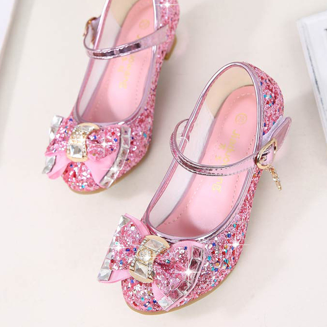 Children Princess Shoes for Girls Sandals High Heel Glitter Shiny Rhinestone Enfants Fille Female Party Dress Shoes 2