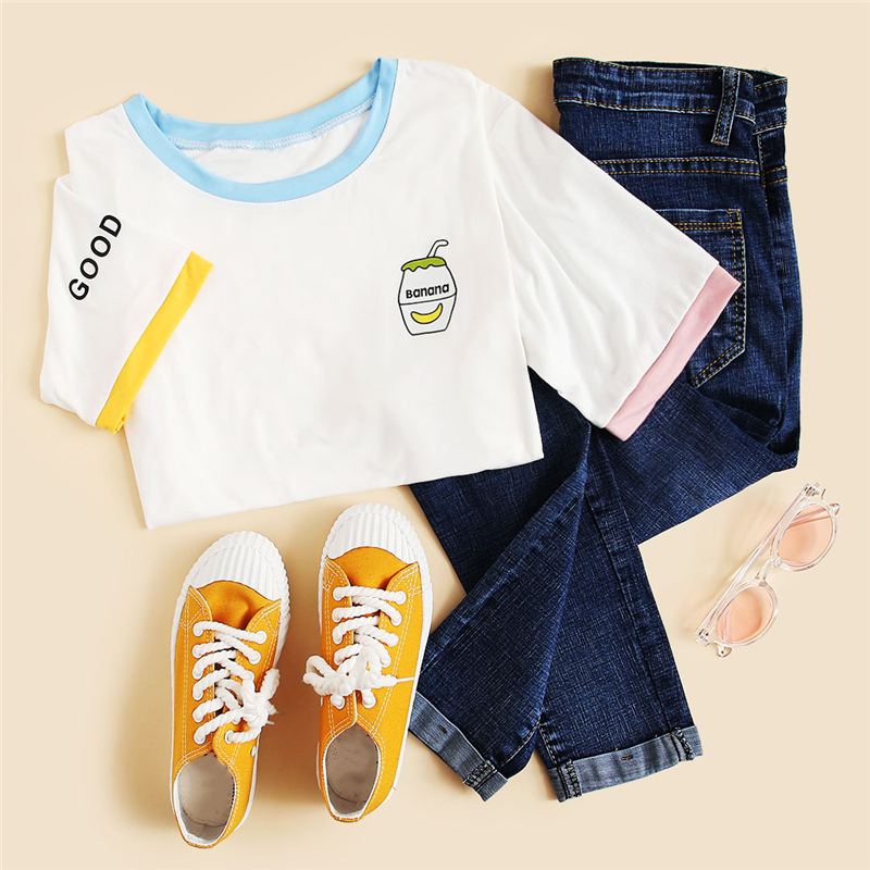 Dotfashion White Graphic Print Ringer Tee Women 2019 Casual Kawaii Tops T Shirt Summer Short Sleeve Korean Clothes T-Shirts