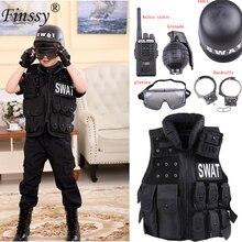 Специальная одежда для мальчиков и девочек, полицейская форма, детский подарок на день рождения, Рождество, маскарадный костюм, детский армейский костюм спецназа