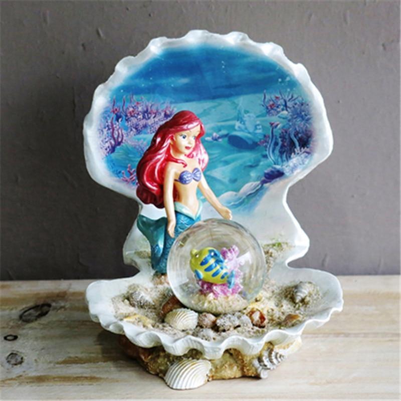 Disney The Little Mermaid Ariel Mermaid Princess Crystal Ball Resin Statue Creative Cartoon Children Bedroom Decor X5065
