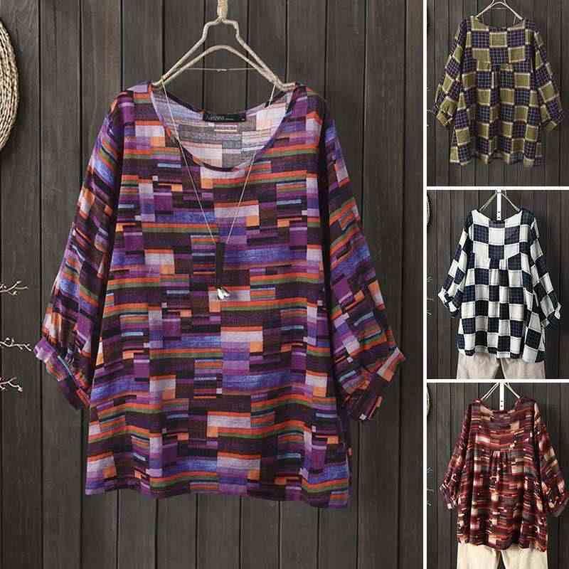 ZANZEA Frauen Floral Print Bluse Damen Casual O Neck Shirts 3/4 Hülse Tunika Tops Weibliche Lose Blusas Chemiser Mujer Plus größe