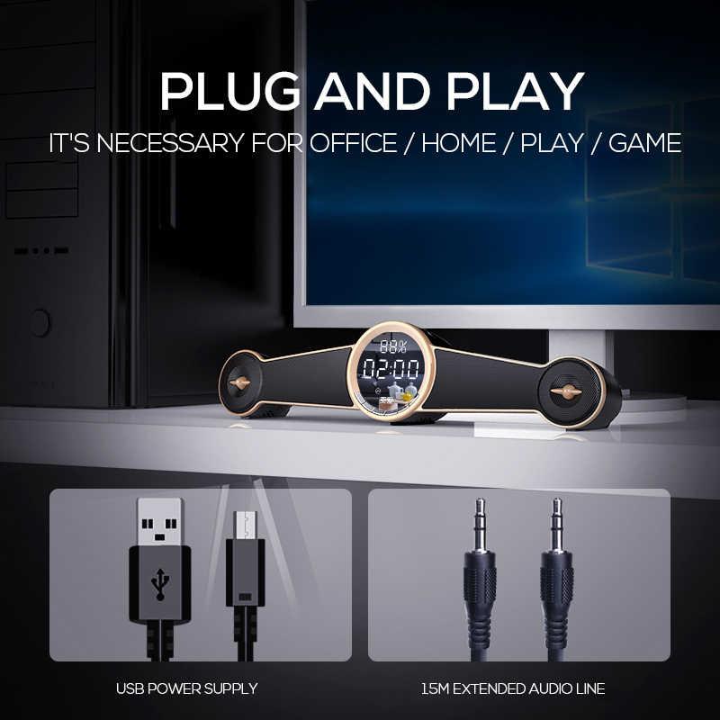 SOAIY ため S98 ゲームスピーカー Bluetooth ミニデスクワイヤレスポータブル 3D ステレオゲーム PC HIFI 低音 LED 時計 FM ラジオ TF カード USB