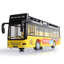 1: 32 Colorful Music Light Warrior Double Layer Open-Air Bus Alloy Car Model CHILDREN'S Toy Car(China)