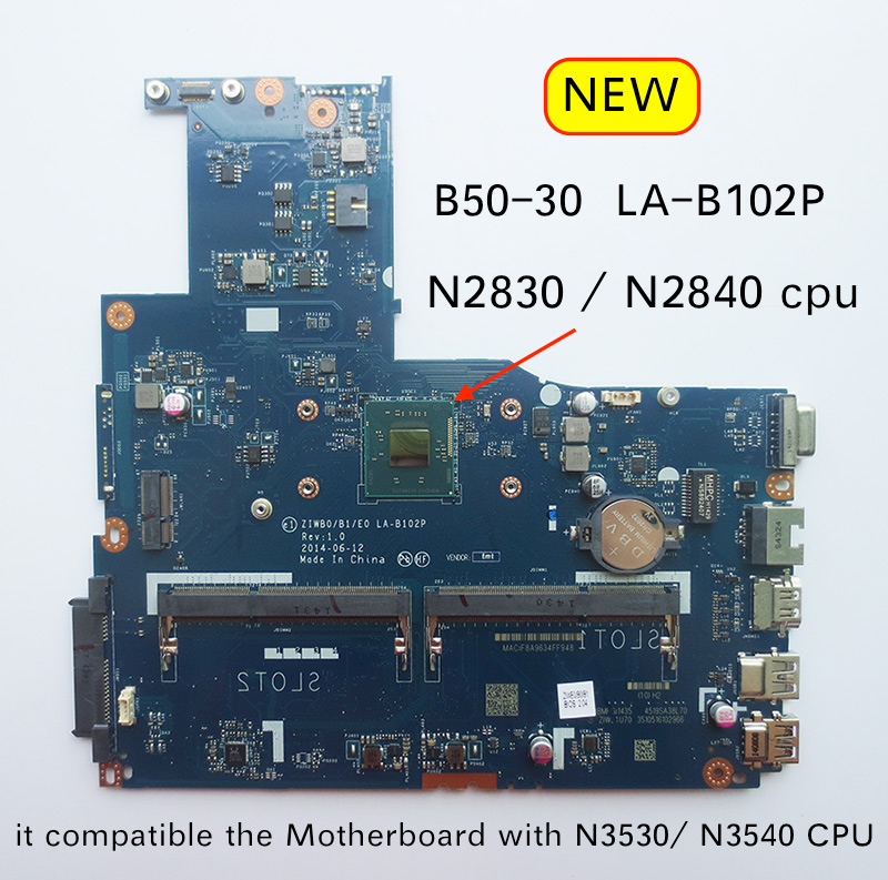 Free Shipping New LA-B102P B50-30 Motherboard For Lenovo B50-30 Laptop Pc Mainboard