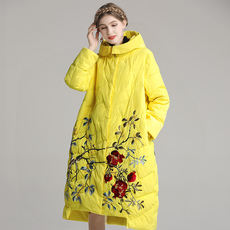 Winter White Duck Down Down Coat Chinese Style Embroidery  Flower Hooded Fashion Loose Women's Down Jacket Plus Size 2XL-4XL