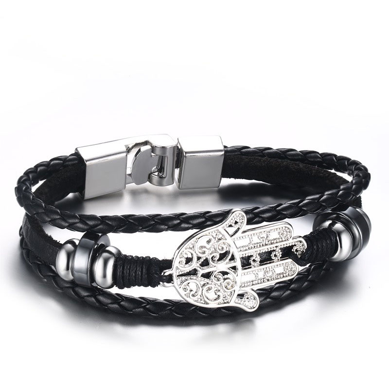 """""""diesel for successful liying"""" Punk Men's Leather Bracelet Multilayer Leather  Alloy Beads Bracelet for Women Nautical Jewelry 4"""