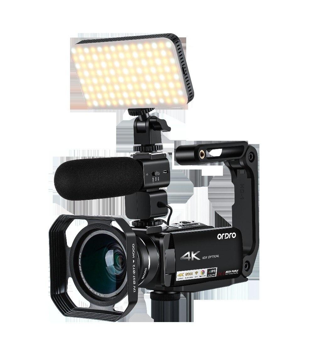 Ordro HDR-AC7 4K UHD videocámara 10x Zoom óptico cámara de vídeo 3,1 ''IPS WiFi cámara grabadora soporte micrófono lente gran angular Vivicine T12 inteligente 3D casa teatro Proyector de Video 1920x1080 píxeles 100% offset Auto enfoque con Zoom 1080P Full Proyector HD Beamer