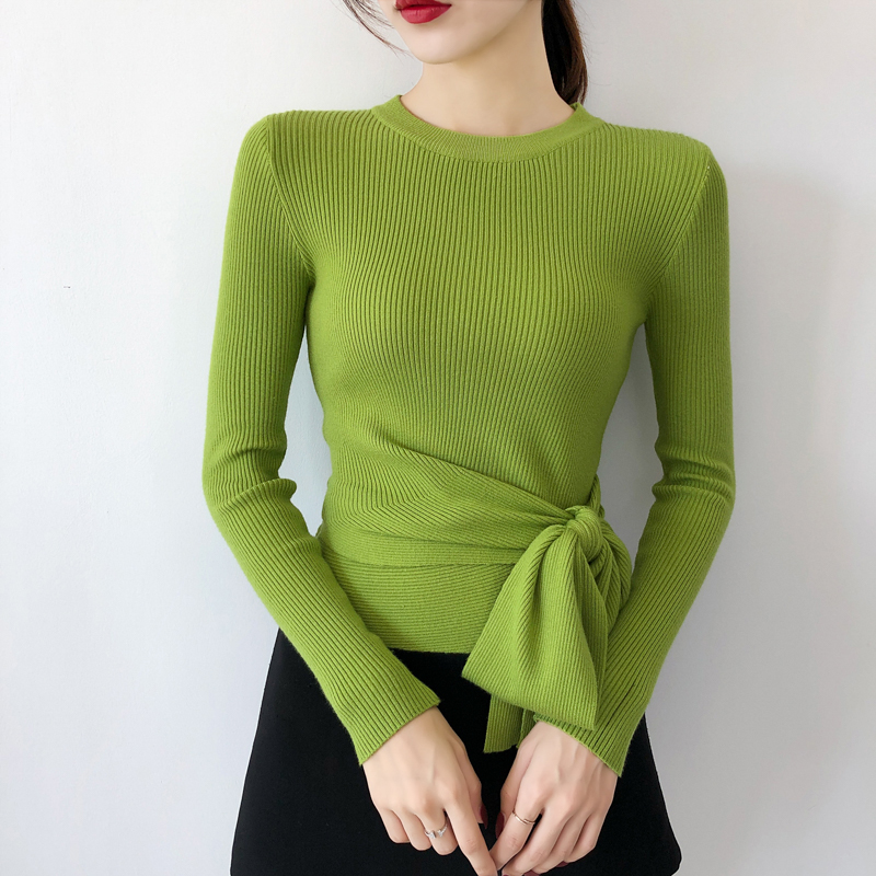 Autumn Winter Sweaters Tops Long Sleeve V-neck Sashes Fashion Sweater Pullover 2019 Solid Fashion Women Slim Jumper Clothing