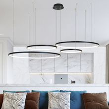 modern led chandelier circle lights for Interior design engineering lighting Line hang LED ring chandelier lamp cheap MZXFA Painted Parlor Study Master Bedroom other bedrooms Hotel Hall Hotel Room Cord Pendant Pendant Lights 3Years Aluminum