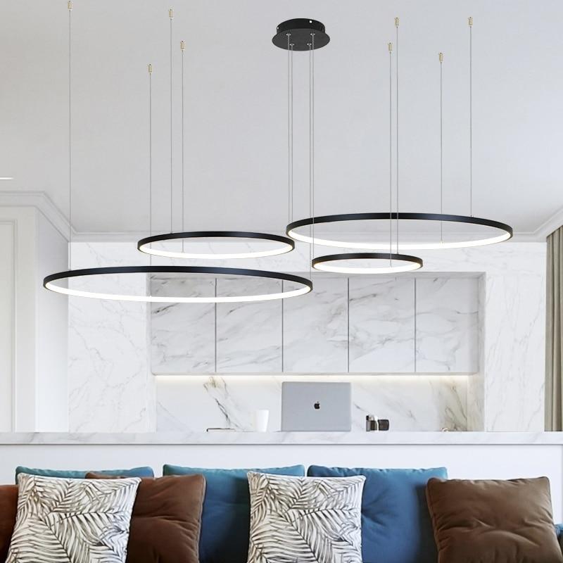 Modern led avize daire ışıkları iç tasarım için mühendislik aydınlatma hattı asmak LED halka avize lamba