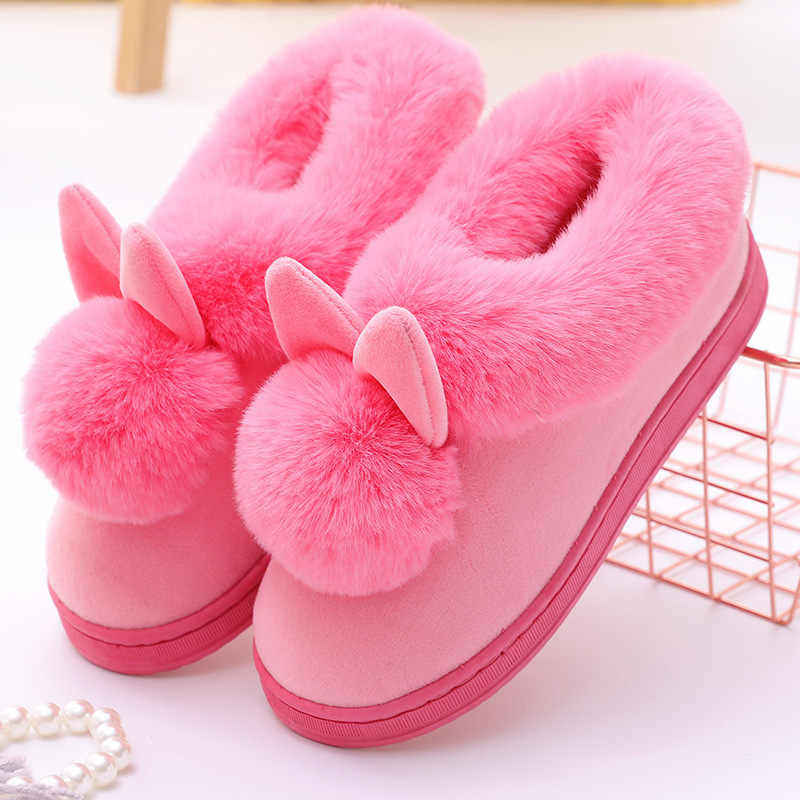 Frauen Haus Stiefel Winter Schöne Kaninchen Ohren Weiche Baumwolle Warme Schuhe Frauen Schnee Ankel Stiefel Casual Indoor Outdoor Botas Mujer