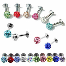 Luxury Stainless Steel  Ball Bar Tragus Stud Earring Lip Body Piercing Gift 1.2MM Thickness Promotion Multicolor