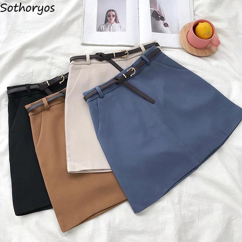 Skirts Women Retro Solid Elegant Korean Style High Waist Womens All-match Soft Ladies Summer Chic Breathable Pockets Skirt 2020