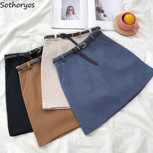 Skirts Women Retro Solid Elegant Korean Style High Waist Womens All match Soft Ladies Summer Chic Breathable Pockets Skirt 2020
