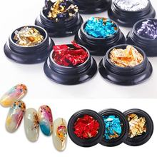 1 Box Two-color Shining Aluminum Foil Nail Art Sticker 3D Creative Glitter Light Thin Decal DIY Nail Decor Manicure Tool(China)