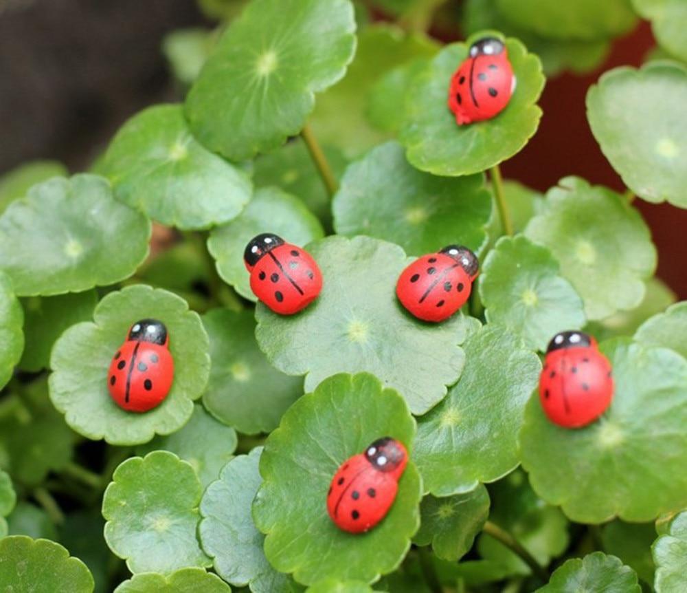 10Pcs Miniature Decorations Coccinella Septempunctata Resin Crafts DIY Little Garden Decor