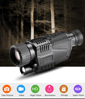 цены NEW HD 5x40 Digital Infrared Night Vision Monocular 200M Range Hunting Monocular Night Vision Optics