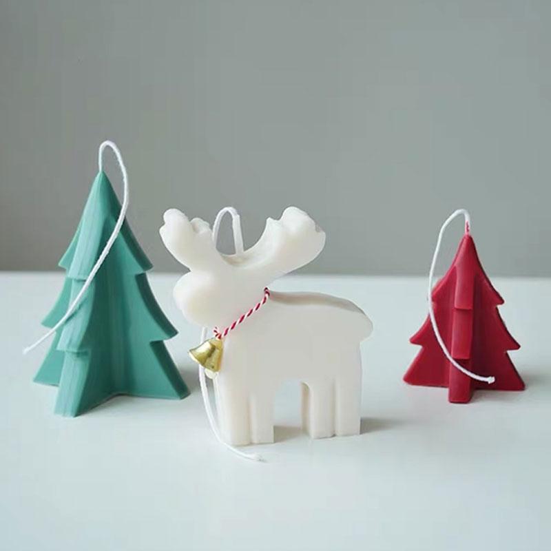 Stampi per candela forma di cervo fortunato albero di natale stampo per candele in alce acrilico stampo per candele creativo fatto a mano
