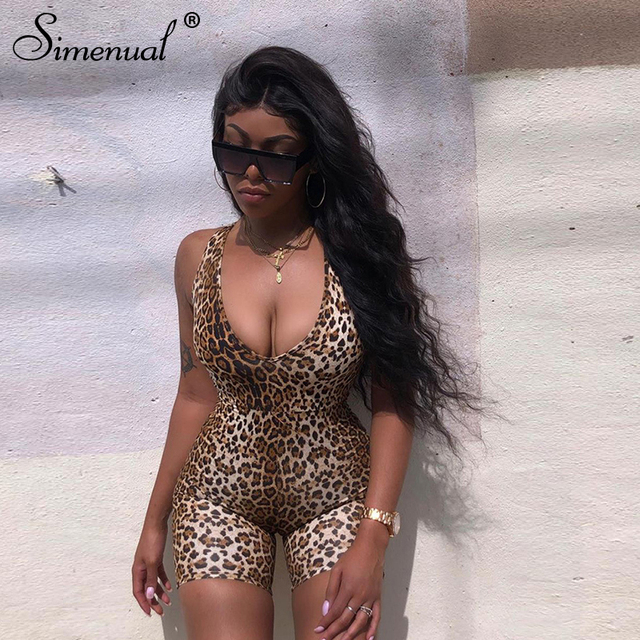 Leopard V Neck Fitness Biker Playsuits Sleeveless Sexy Fashion Rompers Womens Jumpsuits Skinny Summer Slim Playsuit Hot 2