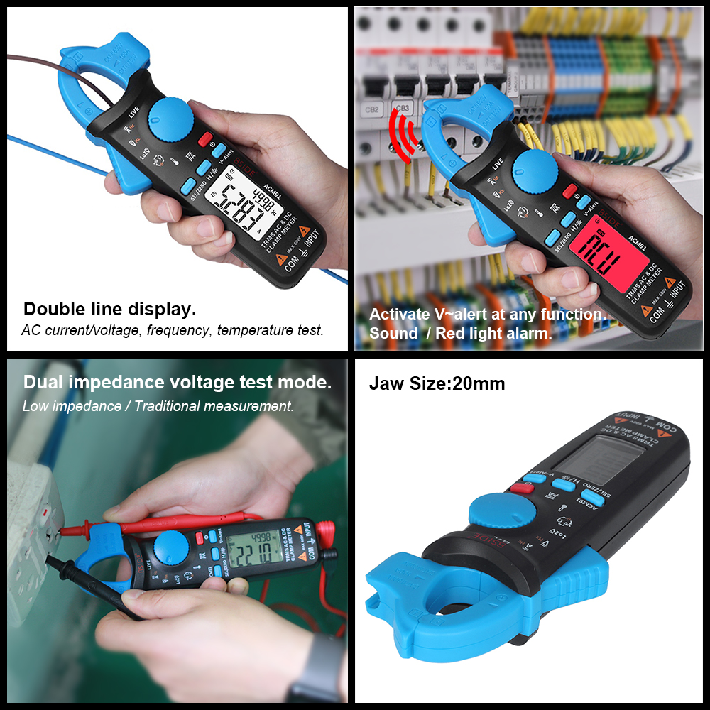 BSIDE Capacitor-Tester Clamp-Meter Car-Repair Current-Volt RMS Professional DC True Temp